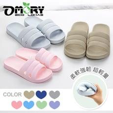 【OMORY】無印風耐磨室內防滑拖鞋(三線寬版)