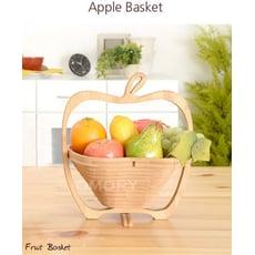 【OMORY】蘋果造型竹製可折疊小物收納水果籃/收納籃/隔熱墊