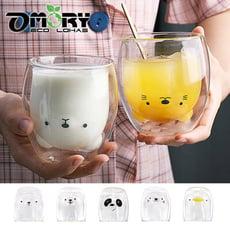 【OMORY】動物雙層玻璃杯/玻璃雙層杯245ml 任選