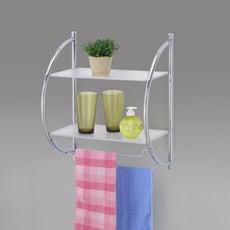 【浴室收納必備】台灣製浴室兩層極方便壁式置物架/收納架/毛巾架