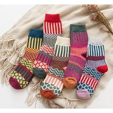 加厚民俗風兔羊毛襪一組五入