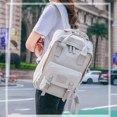 簡約多隔層後背包學生書包14吋筆電包--夏日時光