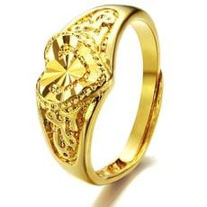 可調式立體心型鍍金戒指-BKG001