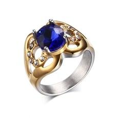 優雅藍寶石白鋼鑽戒-BGS182