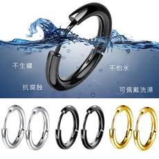 中性圓圈簡約白鋼耳環-EZS00058