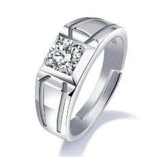 可調式方鑽純銀戒指-BKR004