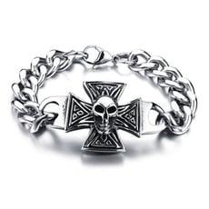 潮流復古十字架骷髏白鋼手鍊-CKS799