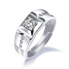 可調式水鑽純銀戒指-BKR005