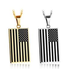 美國國旗白鋼項鍊-AKS1147