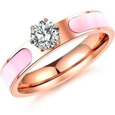 韓系玫瑰金色水鑽女性白鋼戒指 單只價-BKS584