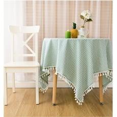 新款格子桌布布藝田園茶幾桌布棉麻蕾絲桌布小清新茶幾布文藝桌布 - 100*150CM