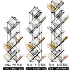 時尚北歐創意組合樹形鐵藝兒童網格書架圖書整理落地式收納架 - 9層