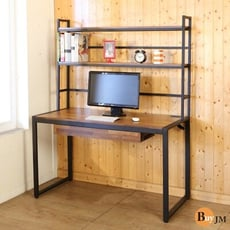 BuyJM LOFT工業風防潑水128公分黑烤漆方框附書架工作桌/附插座 I-H-DE071BR-1