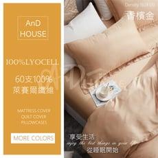300織頂級天絲Lyocell-素色雙人特大床包6*7一入【香檳金】