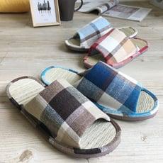 【iSlippers】小日常-真草蓆室內拖鞋-英倫格紋