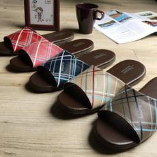 台灣製造-舒適耐穿-經典系列-皮質室內拖鞋-格趣