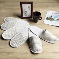 訪客/旅行必備-輕便格紋紙拖鞋