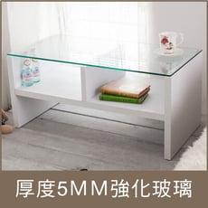 台灣製雙格收納強化玻璃茶几桌 和室桌 桌子 咖啡桌 小方桌 TA008