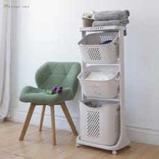 移動式髒衣籃 收納籃 衣籃 髒衣籃 置物籃 塑膠籃 浴室收納 SD|宅貨
