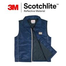 深藍修身反光防水羅紋鋪棉保暖背心-3M Scotchlite&+3M Thinsulate