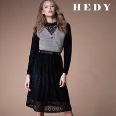 【HEDY 赫蒂】蕾絲保暖透膚毛呢背心假兩件洋裝(灰色)