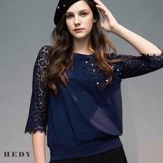 【HEDY赫蒂】立體花朵釘珠袖蕾絲上衣 (藍/白)(M/L)