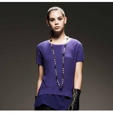 【HEDY 赫蒂】雪紡拼接背心圓領針織上衣(紫.藍)(F)