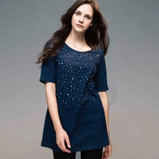 圓領棉T 燙鑽 彈性棉 寬鬆長版上衣(藍/黑兩色)