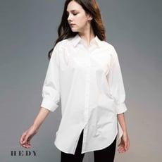 肩膀亮片裝飾造型上衣 七分袖 長版襯衫(共黑/白兩色)