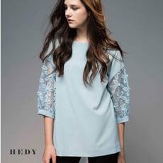 Hedy赫蒂 薄紗透膚袖繡花珍珠袖 圓領長版上衣 寬版(黑/灰藍)