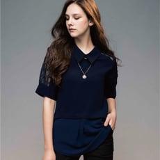 透膚網紗格紋 拼接層次 立領上衣(共黑/丈青2色)