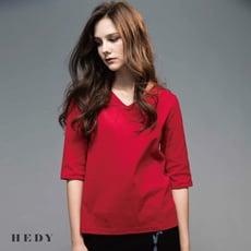 【HEDY赫蒂】簡約V領7分袖上衣 (紅/桃/黑)(F)