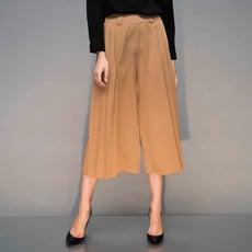 【Hedy赫蒂】 時尚款雙側邊百摺寬褲裙(駝/黑色)M/L