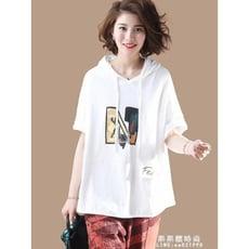 印花帶帽t恤女裝短袖寬鬆 夏裝新款韓版大碼休閒上衣打底衫潮