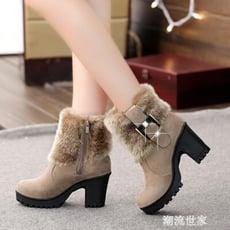 毛毛雪地靴短筒翻毛短靴女新款冬季女鞋高跟粗跟百搭加絨裸靴