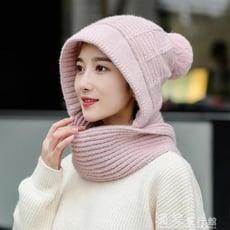 帽子女冬韓版連體圍巾毛線帽保暖加厚針織套頭帽騎車護耳一體