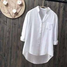 長袖秋裝純棉白襯衫長袖女式休閒襯衣新款清新素色V領打底衫卷袖上衣