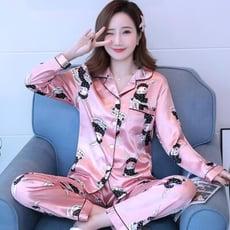 長袖棉睡衣 睡衣女夏冰絲春秋季長袖薄款兩件套裝可愛大碼絲綢出門家居服女式