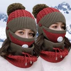 帽子女冬天加絨加厚毛線帽防風保暖護耳秋冬季韓版百搭針織騎車帽