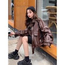 皮衣女秋裝新款韓版寬鬆立領港風皮夾克皮衣皮毛一體短外套潮