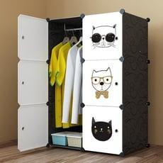 兒童 簡易衣櫃簡約現代經濟型塑膠組裝組合收納櫃單人小衣櫃布藝
