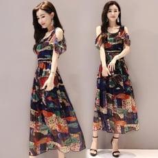 新款韓版高收腰顯瘦中長氣質流行露肩雪紡碎花連身裙子夏天女
