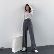 春季新款港味復古chic薄款素色針織闊腿褲百搭寬鬆休閒長褲女