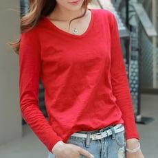 長袖t恤女紅色春季新款韓版v領竹節棉寬鬆素色百搭體恤女純棉