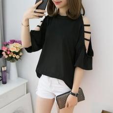2020新款韓版寬松大碼五分袖鏤空破洞露肩短袖T恤女時尚純色上衣