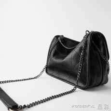 托特包包包ZARAHOME女包流浪包黑色大容量軟質托特包斜背包女