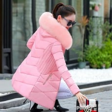 冬季新款羽絨棉服韓版棉衣女中長款修身大毛領棉襖加厚外套潮