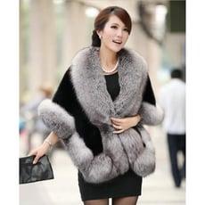仿狐貍毛領貂皮皮草外套女修身顯瘦新款冬季時尚短款毛毛披肩