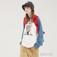 PROD藍色卡通圖案可愛長袖T恤女寬松考拉學生趣味粉色薄款春上衣