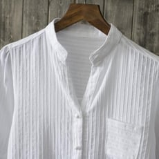 秋裝純棉白襯衫長袖女式休閒襯衣新款清新素色v領打底衫卷袖上衣